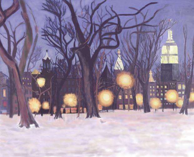 """... : Parkscape: """"Tompkins Square Park, winter dusk"""" by Lauren Edmond"""